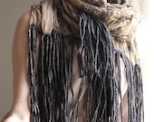 Nuno felted scarf with fringe sand and charcoal shawl beige silk with black wool gift under 150 USD
