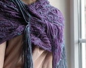 Sale 30% - Nuno felted scarf crocus purple flowers shawl with fringe gift under 100 USD