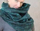 Merino wool felted scarf infinity cowl hood cobweb wrap circle neck warmer gift under 100 USD handmade to order