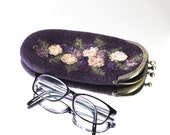 Felted eyeglasses case with bag frame antique metal closure garden flowers handmade gift for her under 50 USD