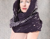 Merino wool felted scarf infinity cowl hood cobweb wrap circle neck warmer - Ready to ship now