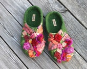 Sale - Summer garden - felted slippers size US 8.5 EU 39 UK 6 - ready to ship
