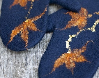 Felted mittens winter blue wool mittens with orange flowers arm warmers merino wool gloves women gloves winter gift Christmas gift