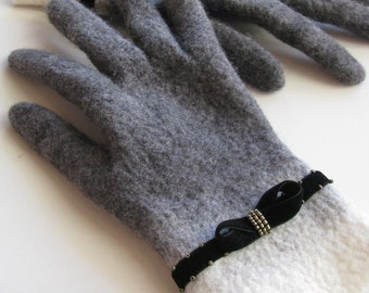Felted grey gloves velvet embroidered decor merino wool black women arm warmer French style retro gloves white wristlet Christmas gift