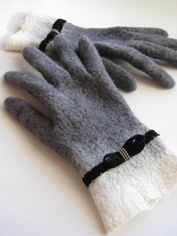 Felted grey gloves velvet embroidered decor merino wool black women arm warmer French style retro gloves white wristlet Christmas gift