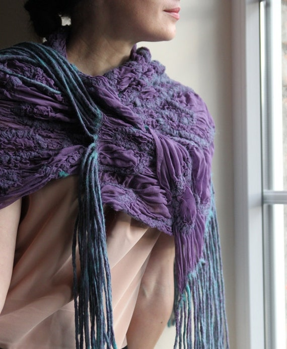 Sale 30% - Nuno felted scarf crocus purple flowers shawl with fringe gift under 100 USD