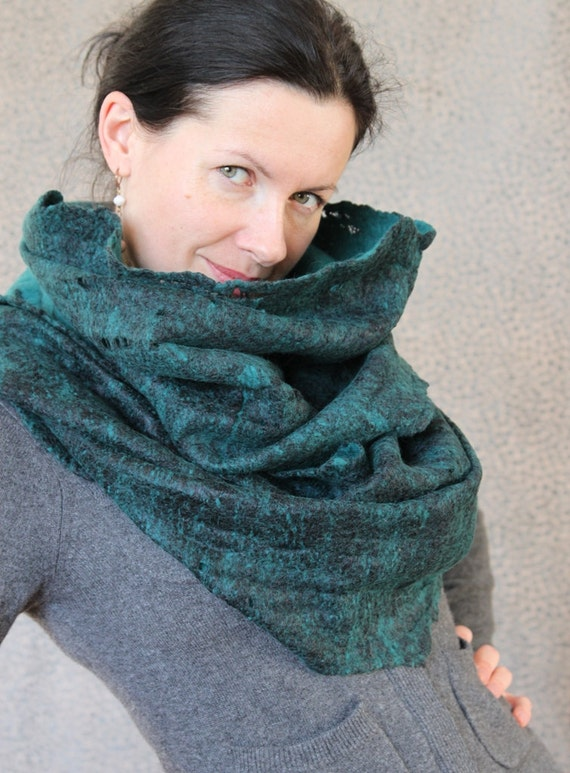 Merino wool felted scarf infinity cowl hood cobweb wrap circle neck warmer gift under 100 USD handmade to order