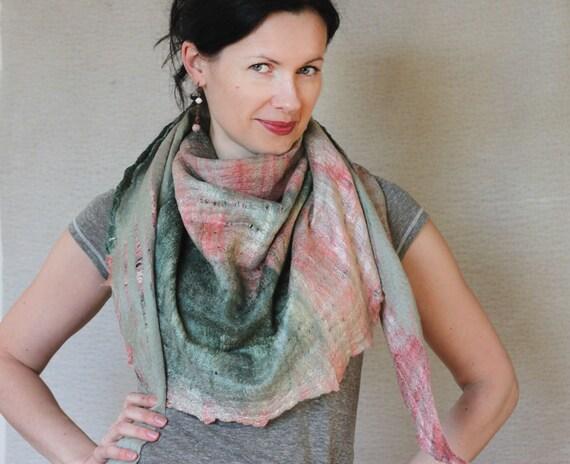 Rhubarb - felted scarf - green rose silk wool - ready to ship