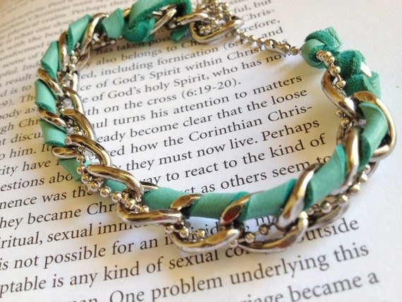 Chunky Chain and Teal Leather Bracelet