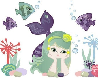 Mermaid Fabric (not vinyl) Wall Decals - Large