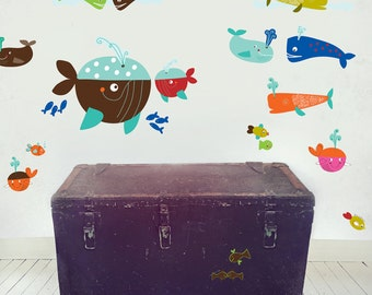 Whales Wall Decals (not vinyl) - Small, by Carolyn Gavin