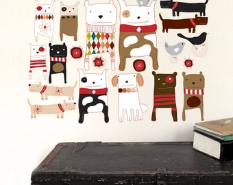 Dogs Wall Decals (not vinyl) - Small, by Carolyn Gavin