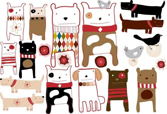 Dogs Fabric Not Vinyl Wall Decals Medium By Carolyn By