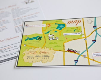 Custom Wedding Map with Itinerary -- Chicago, IL