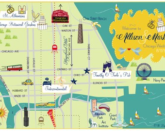 Custom Wedding Map --Chicago, IL (choose your city/location)