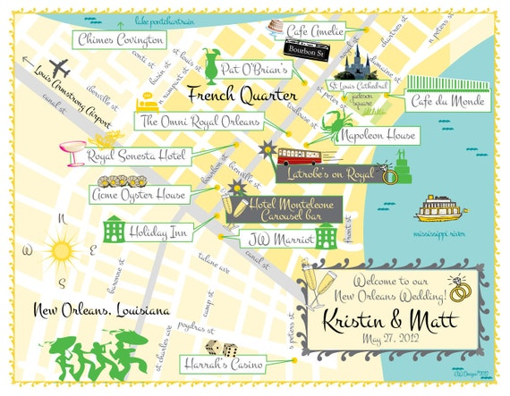 As Seen on STYLE ME PRETTY - New Orleans Wedding Map Save the Date (same design but choose your city/location)