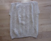 Pullover Vest, ecru with multi-color shiny thread woven with yarn