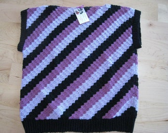 Shades of purple and black, pullover vest-large-Hand-Knit