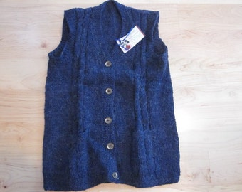 Navy blue wool and specs of mohair button-down vest with pockets and brass buttons