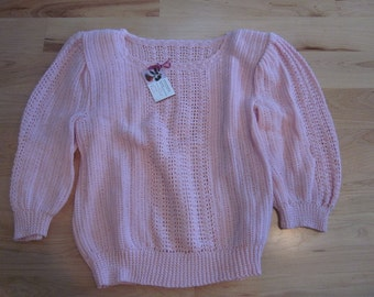 Pink Cotton Pullover sweater with padded shoulders