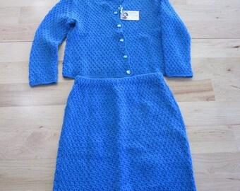 Deep blue-two piece sweater dress set, jacket and skirt