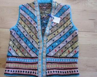 Multi-color wool vest- Large