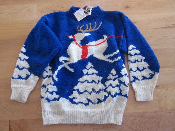 Rudolph Christmas Sweater-Hand Knit- with nose that light up