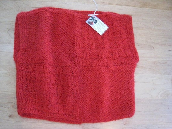 Hand-Knit sweater-pullover vest-Red Mohair, basket weave