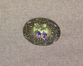 Grape Cluster and Floral Belt Buckle