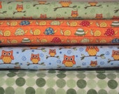 LOVE U 4 fq Brushed Cotton owls woodland quilt fabric Moda fat quarters baby boy snails turtles orange green blue polka dots set D
