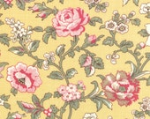 PINK Roses quilt fabric Moda Pom Pom de PARIS French General shabby cottage chic yellow 1 yard 13574-12