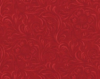 TOOLED LEATHER 3 yds deep red cotton quilt fabric Moda King of the Ranch Texas Americana western cowboys 3 full yards 11216-11