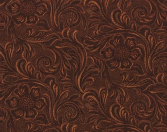 TOOLED LEATHER 3 yds dark brown cotton quilt fabric King of the Ranch Moda Americana western cowboys 3 full yards 11216-15