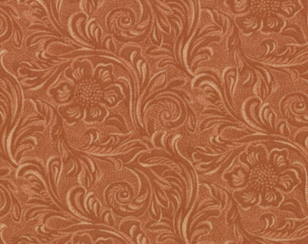 TOOLED LEATHER cotton 2 yd Moda Fabric buckskin brown quilting sewing King of the Ranch Moda Americana western cowboys 2 full yards 11216-14
