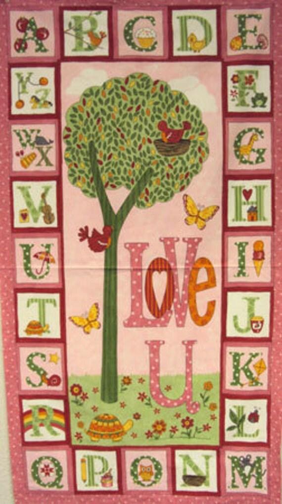 Love U Panel Pink Brushed Cotton Baby Girl Moda Quilt Fabric