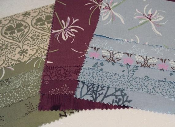TWIGGY by SANAE Moda modern quilting fabric 16 piece sample set purple trees vines leaves