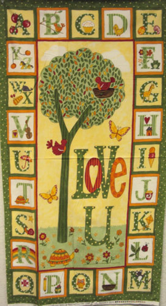 Abc Love U Yellow Panel Moda Quilt Fabric Modern Baby Brushed