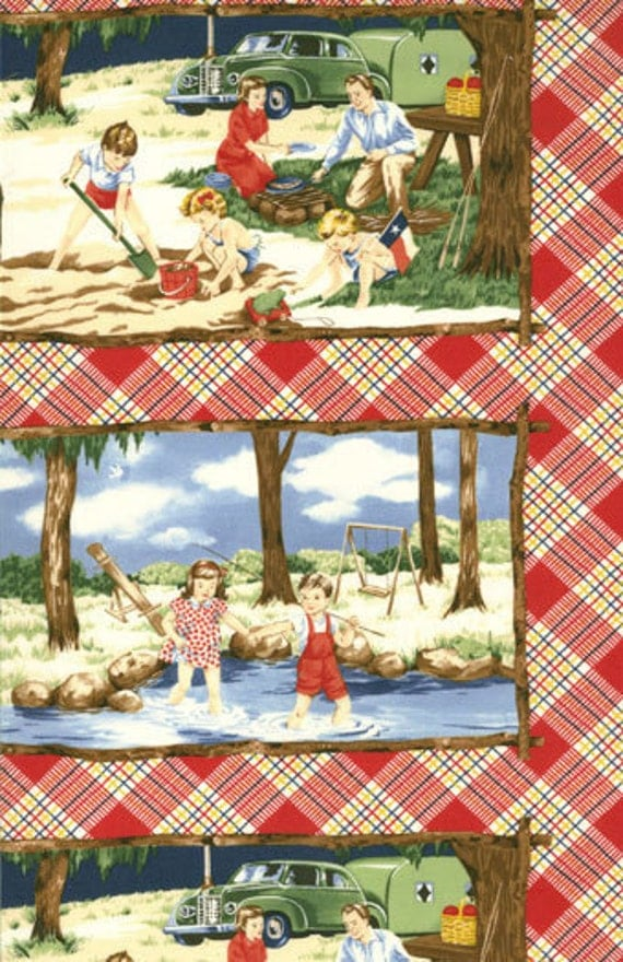 HAPPY CAMPERS panel Moda quilt fabric American Jane prairie style nostalgic caravan children camping 21200-11