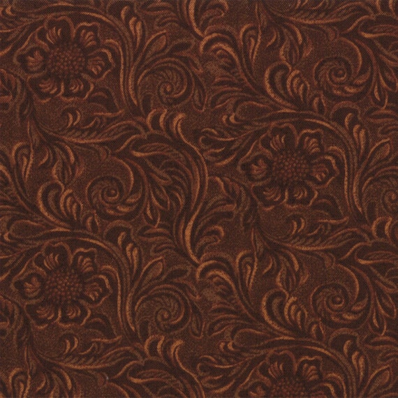TOOLED LEATHER cotton quilt fabric King of the by