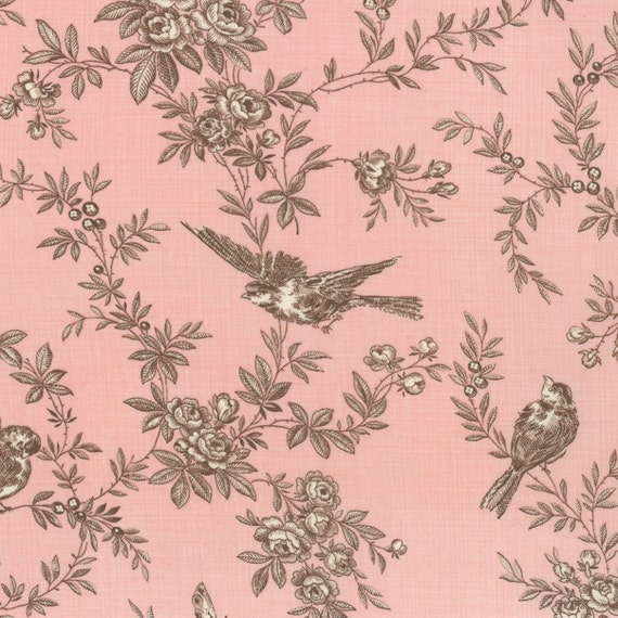 PINK TOILE quilt fabric Moda Pom Pom de PARIS French General shabby prairie style brown birds 1 yd 13572-16