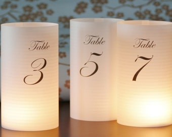 16 table number luminaries --shortie DIY 6 inch customized lumies