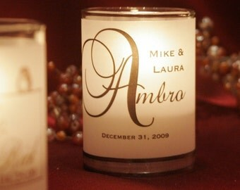 "Assembled Classic and ""Big Letter"" Place Card / Name Card / Escort Card / Wedding Favor / Candle Votives with candles"