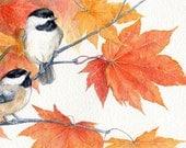 "ACEO Chickadee Illustration Bird Giclee Fine Art Print of original watercolor bird painting chickadees - 2.5"" x 3.5"""