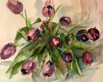 Tulips watercolor painting - Limited Edition Giclee Print