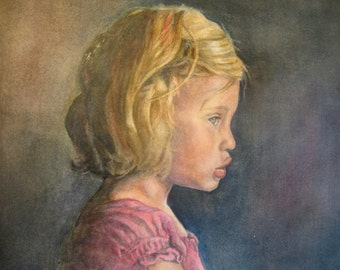 11 x 14 CUSTOM Watercolor portraits - from your photo -