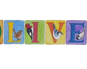 BIRD theme - Large contemporary NAME ART watercolor painting for a Baby/Child - custom