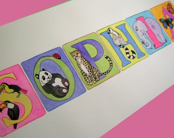 GIFT CERTIFICATE  - Child Name Art Custom Name Painting - ANY theme - price per letter