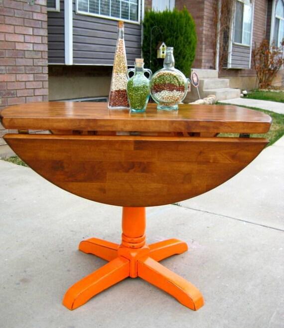 Custom for Abby & Anna   sold     Pumpkin Medium Glaze Drop Leaf Kitchen Table Solid Wood Shabby Chic