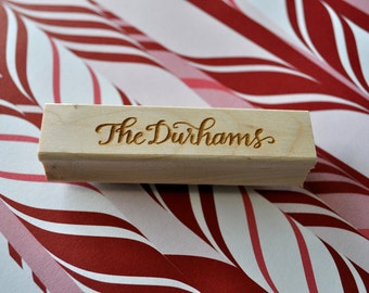 Custom Calligraphy Stationery Stamp - Durham Lettering Style