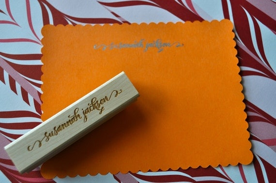 Custom Calligraphy Stationery Stamp - Jackson Lettering Style
